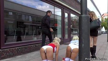 Busty blonde made crawl in public street