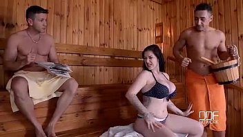British Bombshell Throated and stuffed in Sauna