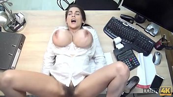 LOAN4K. Long-haired chick wants to earn money so why undresses