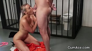 Foxy honey gets cum load on her face swallowing all the charge 5 min