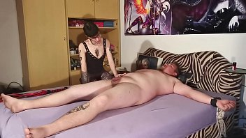 Goth domina biting her tied out slave body & cock pt2 HD