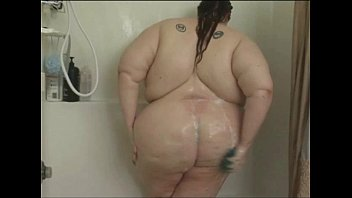 Fat Babe Soaps Herself in the Shower porn image