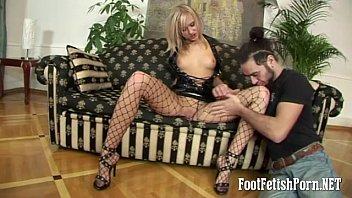 Black foot fetish - Blonde in black fishnets footfetish