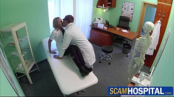 Sexy blonde nurse Nancy gets to grip a cock with her pussy lips