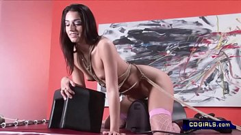 Elena's Sybian ropes whipping and spanking