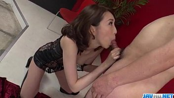 Aya Kisaki wife  in lingerie blows a big dick  ows a big dick in POV