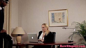 Interracial bosslady analized on office desk