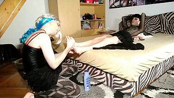 Feet licking & massage from cd tv sissy slave to her mistress pt2 HD