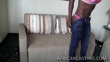 Ebony hottie gets banged from behind