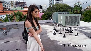 American student sucks on the roof top pov