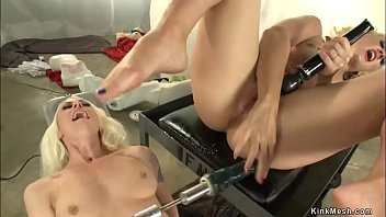 Lesbians fuck machines and squirt