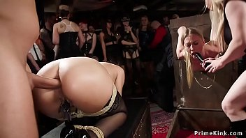 Two hot bound slave anal fucked group