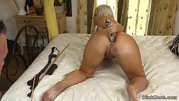 Bound busty tanned MILF rough banged