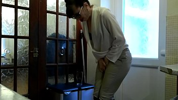 I can't hold my pee! My boss locked me out of the toilet. I punish him with my piss and my strap on.
