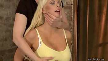 Busty blonde is tied in lezdom