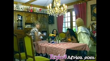 African girl and two white couples fuck in a hot orgy