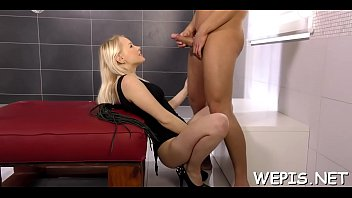 Dirty gal Lola Taylor riding lever in front of camera