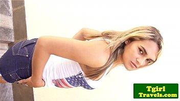 Latin TS Pamela Fonseca strips outdoors