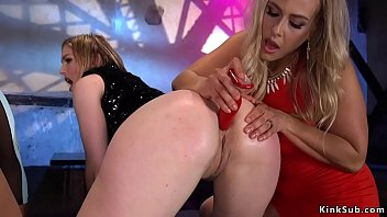 Domme blonde anal fisting ebony