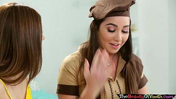 Sapphic petite brownie babe seduced by teen
