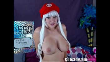 Big Titted Cosplay babe masturbating on webcam