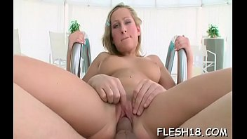 Succulent young blonde maid Riley with large natural tits craves for slim jim