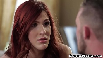Analized ginger tgirl covered in hubby jizz