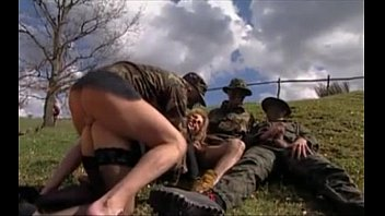 Hairy military men Girl gangbanged in grass by military men