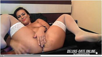 Romanian Brunette in White Stockings Plays with Dildo de deluxe-date.online.online