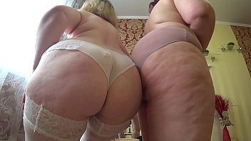 Sexual foreplay of two mature lesbians with fat assescomma gradual undressing and caressperiod