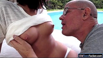 Coco Demal sucking a grandpa in the garden before riding him