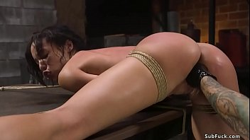 Tied ebony fisted and rough banged