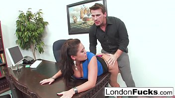 Skinny ankles asian cultures London keyes gets bent over and office fucked