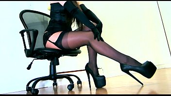 Sexy girls wearing stiletto heels Sensual teasing in a corset and layered hosiery