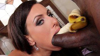 Interracial bangers Mea Melone deepthroats a whip cream covered black cock