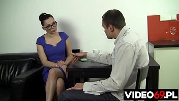 Polish porn - Therapy with a sexy Mrs. sexologist in glasses and a short skirt