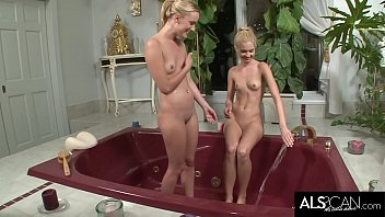 Two Tiny Tits Blonde Lesbians Scissor and Fuck in Tub
