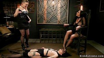 Anal foot fucking lesbian threesome