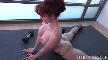Nakes female athletes - Naked fit yoga instructor plays with her asshole