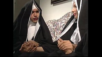 Two nuns are comforting a sister, but she don'_t know they'_re two horny shemales!
