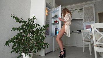 Fridge Humping. Gorgeous Milf  in a bathrobe cums on the fridge door
