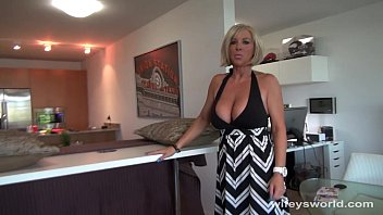 Milf and Busty blonde milf sucks and swallows cum