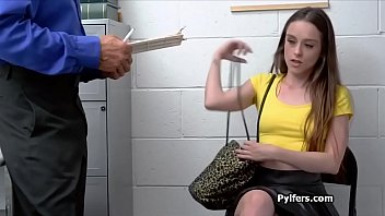 Perky brunette strokes and blows at office