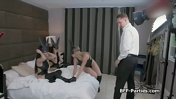 Kinky photo shoot turns to foursome fuck party
