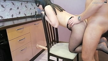 Girl Deep Sucks Cock, Fucks In Different Poses And Gets Cumshot On Ass
