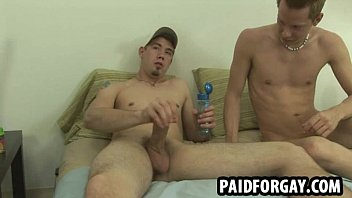 Horny straight hunk sucks while getting fucked for cash