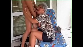 German Granny fucked on chair