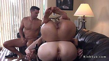 Kinky couple submitting Asian petite slave