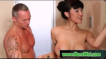 Busty Jayden Lee gets a big cock between her boobs in shower from Marcus London