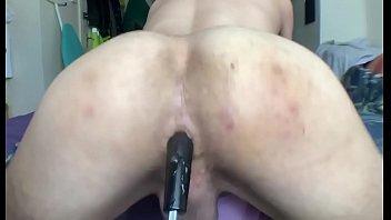 Booty twerking rough on a big black toy
